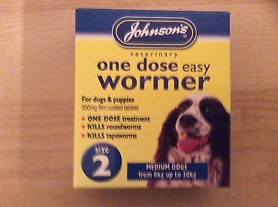 Johnsons One Dose Easy Dog Wormer Worming Tablets Size 2 Uk Seller