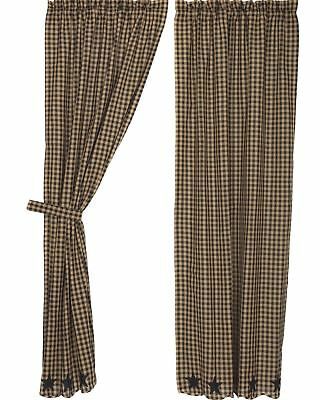 """84"""" Long Black & Tan Check Countrytyle Lined Window Curtains w/ Star Appliques"""