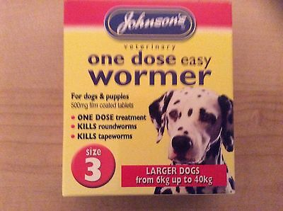 Johnsons One Dose Easy Dog Wormer Worming Tablets Size 3 Uk Seller