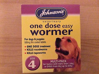 Johnsons One Dose Easy Dog Wormer Worming Tablets Size 4 Uk Seller
