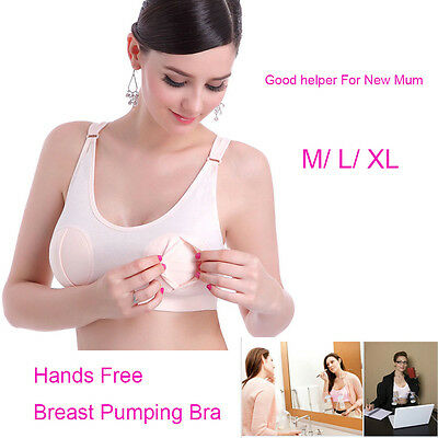 Women's Pregnant Breast Feeding Pumping Bra Hands Free For Breast Pump Easy Soft