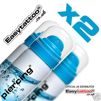 Easy piercing ® SALINE SOLUTION 2x 50ml - piercing aftercare (video) - BEST DEAL