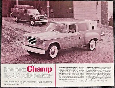 1960 Studebaker Champ Pickup Truck Specification Sheet New Introduction Brochure