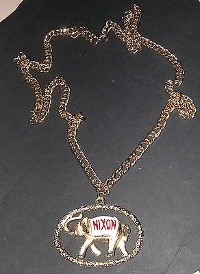 1970's Richard Nixon Republican Party Elephant Necklace and Medallion