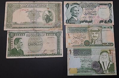 ONE JORDANIAN DINAR FIVE DIFFERENT ISSUES. RARE 1949 KING ABDULLAH & +4 others