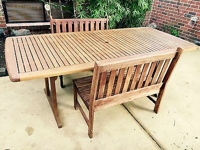 Wooden Garden Long Table with Benches