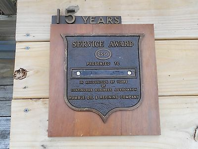 Vintage ESSO Motor Oil 15 years service plaque