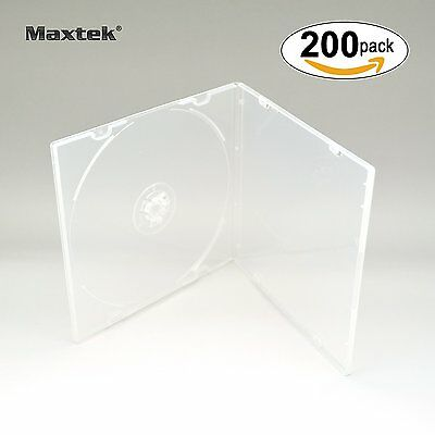 Maxtek 5.2mm Slim Single Clear PP Poly Plastic Cases with Outer Sleeve, 200