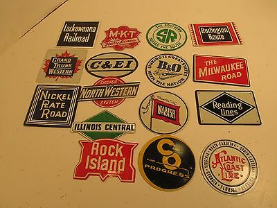 Lot of 16 Post Cereal Tin Railroad Signs Rock Island Burlington Reading Wabash