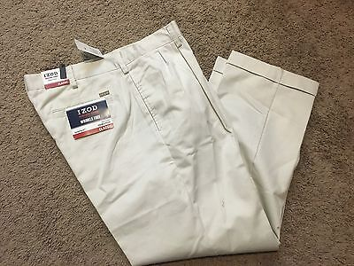 NWT IZOD Heritage Chino Classic-Fit Wrinkle-Free Double Pleated Pants 36X30