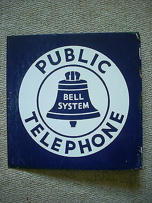 Original Vintage Double Sided Flanged Bell Telephone Porcelain Sign 18 x 18