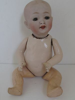"Antique German Bisque Head Composition Body Baby Doll  10 1/2"" Tall"
