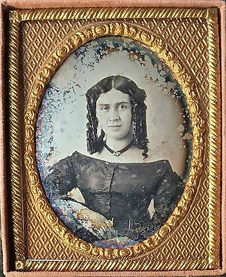 Gorgeous Young Woman With Long Curls Unusual Domed Plate 1/9 Daguerreotype D387