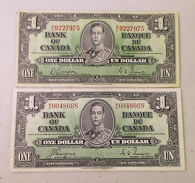 (2) 1937 Bank of Canada 1 Dollar Notes - Lot FN4