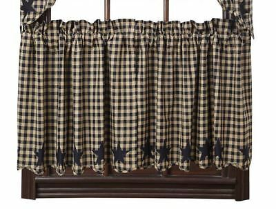 "24"" L Country Check Window Tier Set Black Star Patch Scalloped Hem Cotton Lined"
