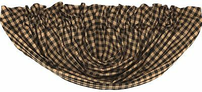 "Black & Khaki Tan Check Countrytyle Lined 100% Cotton Balloon Valance 60"" Wide"