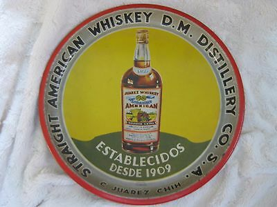 Vintage Straight American Whiskey Distillery Juarez Serving Tray Rare!!