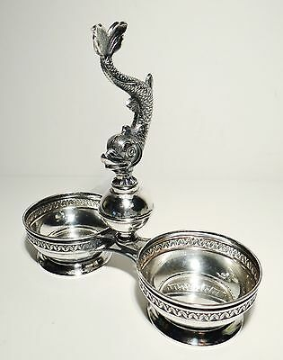 Vintage Spanish Silver Detailed Dolphin Fish Cruet Condiment Cups .915