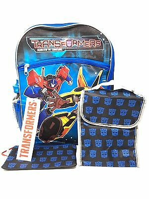 """New Transformers 16"""" Large Backpack + Lunch Bag-Case-Water Bottle 5 Items"""