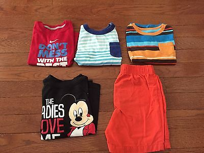 Toddler 2T Lot (4) T-shirts Nike Mickey Old Navy Jumping Beans (1) Short