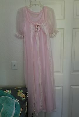 Vintage Tosca Pink Chiffon Nightgown Robe Peignoir Large