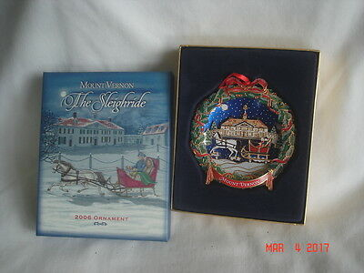 MINT in BOX 2006 MOUNT VERNON The Sleighride 3-D Hand-Painted ORNAMENT