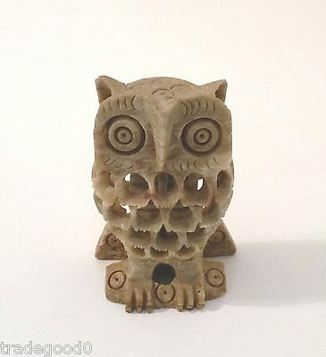 Hand Carved Soapstone Owl with Baby Owl Inside Sculpture Figure Figurine