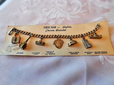 Vintage Chicago Skyline Charm Bracelet with Charms  on Cardboard 1971 Souvenir