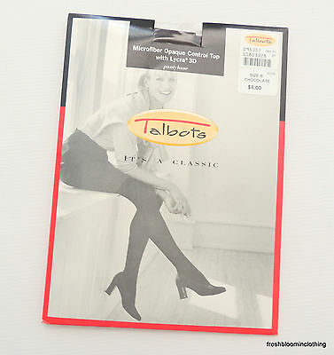 New Talbots Microfiber Opaque Control Top Lycra 3D Pantyhose Chocolate Brown B