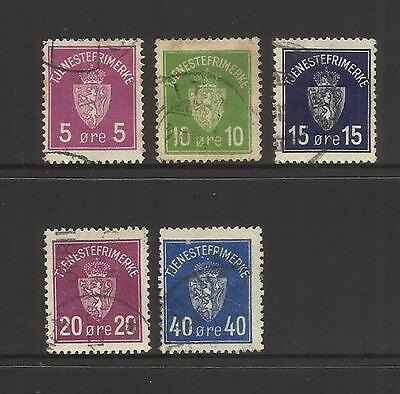 Norway Norge ~ 1925-29 Official Service Stamps (Part Set) Used