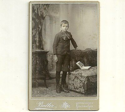 Vintage Cabinet Card Photo Boy In Short Pants Chatham Ontario Old  Photograph