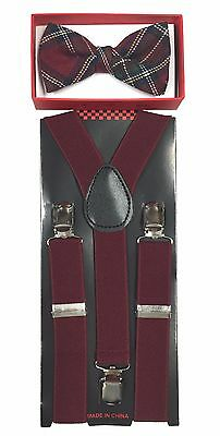 Simple and Elegant Suspender and Bow Tie Set for Boys Girls Children Burgundy