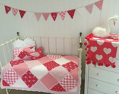 4 pce Girls Cot Quilt Bedding Shabby Chic Scarlet Crib Vintage Nursery  Set