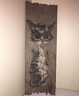 1967 Real Painting Big Sad Eyes Cat On Old Wood Board Pity Kitty 60s Art Artwork