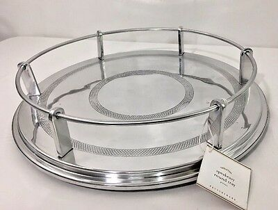 Pottery Barn Speakeasy Round Serving Tray Silver