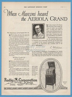 1922 RCA Aeriola Grand Antique Radio Corporation of America Guglielmo Marconi Ad