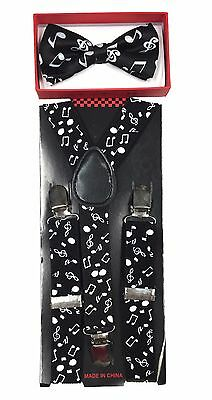 Simple & Elegant Suspender and Bow Tie Set for Boys Girls Children BLK-MusicNote