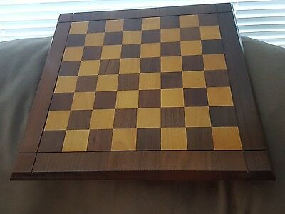 Vintage Drueke Solid Block Wood Dual Sided  Chess and Checker Board   No. 61
