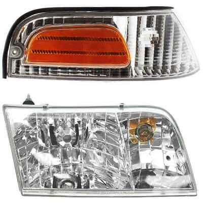 HEADLIGHT & PARKING SIDE MARKER L/R PAIR fits 98-09 FORD CROWN VICTORIA