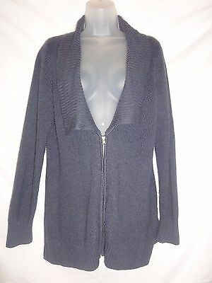 MOTHERHOOD Maternity NAVY BLUE Tunic ZIP FRONT Sweater SZ MEDIUM