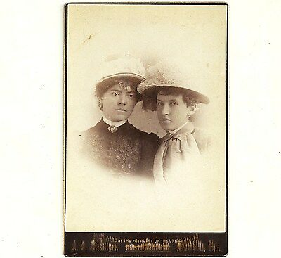 Vintage Cabinet Card Photo Ladies In Hats Brockville Ontario Antique Photograph