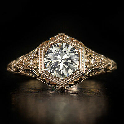 0.90ct DIAMOND CERTIFIED VINTAGE SOLITAIRE ENGAGEMENT RING ROSE GOLD FILIGREE CT
