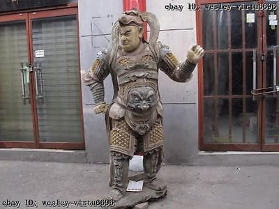 China Folk temple Wood Carve Painted famous Whitfield Wei Tuo warrior God Statue
