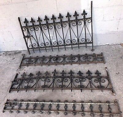 Antique Wrought Iron Fence 4 Sections Architectural Salvage