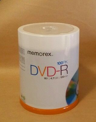 NEW Memorex DVD R 100 PAQ 16X 4.7GB 120 min with spindle NEW SEALED