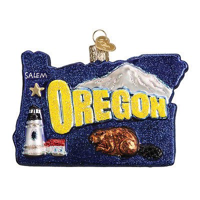 """""""State of Oregon"""" (36200) Old World Christmas Ornament w/OWC Box"""