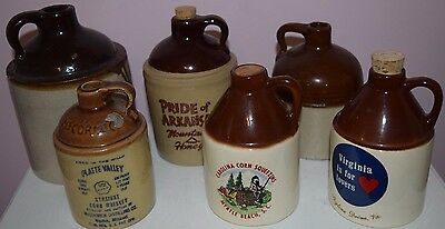 Lot of 6 VINTAGE Stoneware Pottery Whiskey Moonshine Jugs Collectibles