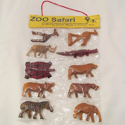 HAND CARVED WOODEN African Safari Miniature Animals Made In Kenya set 10