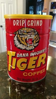 Vintage Dana Brown's tiger coffee 16 ounce tin can - Nice condition with Lid!