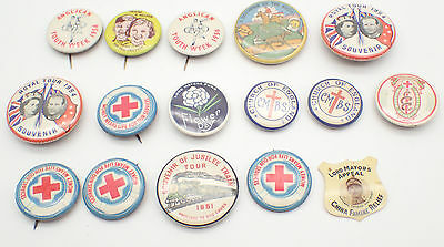 Assorted Collection Of Vintage Tin Badges Job Lot Of 15 - Free Post